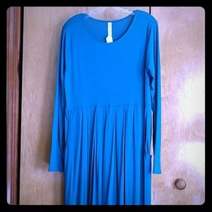 Long teal knit dress